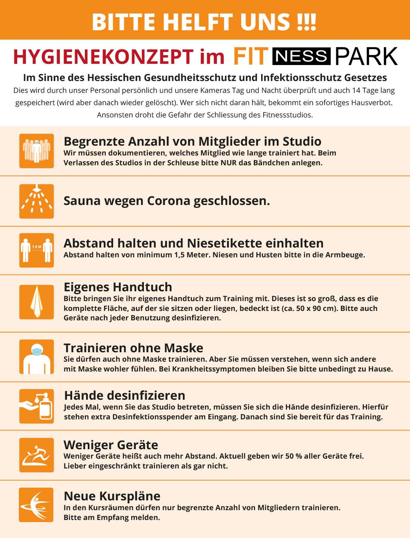 Hygieneplan Corona Fitnesspark in Limburg